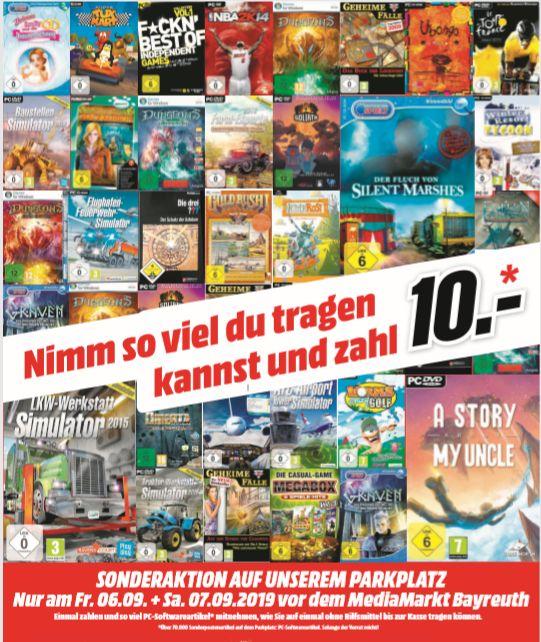 [Regional Mediamarkt Bayreuth am 06.09 und 07.09] PC und Softwaretitel Sonderaktion- Nimm so viel wie du tragen kannst für 10€
