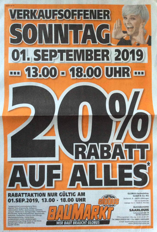 [Lokal] Globus Baumarkt Saarlouis, 20% auf alles am 01.09.2019, Verkaufsoffener Sonntag