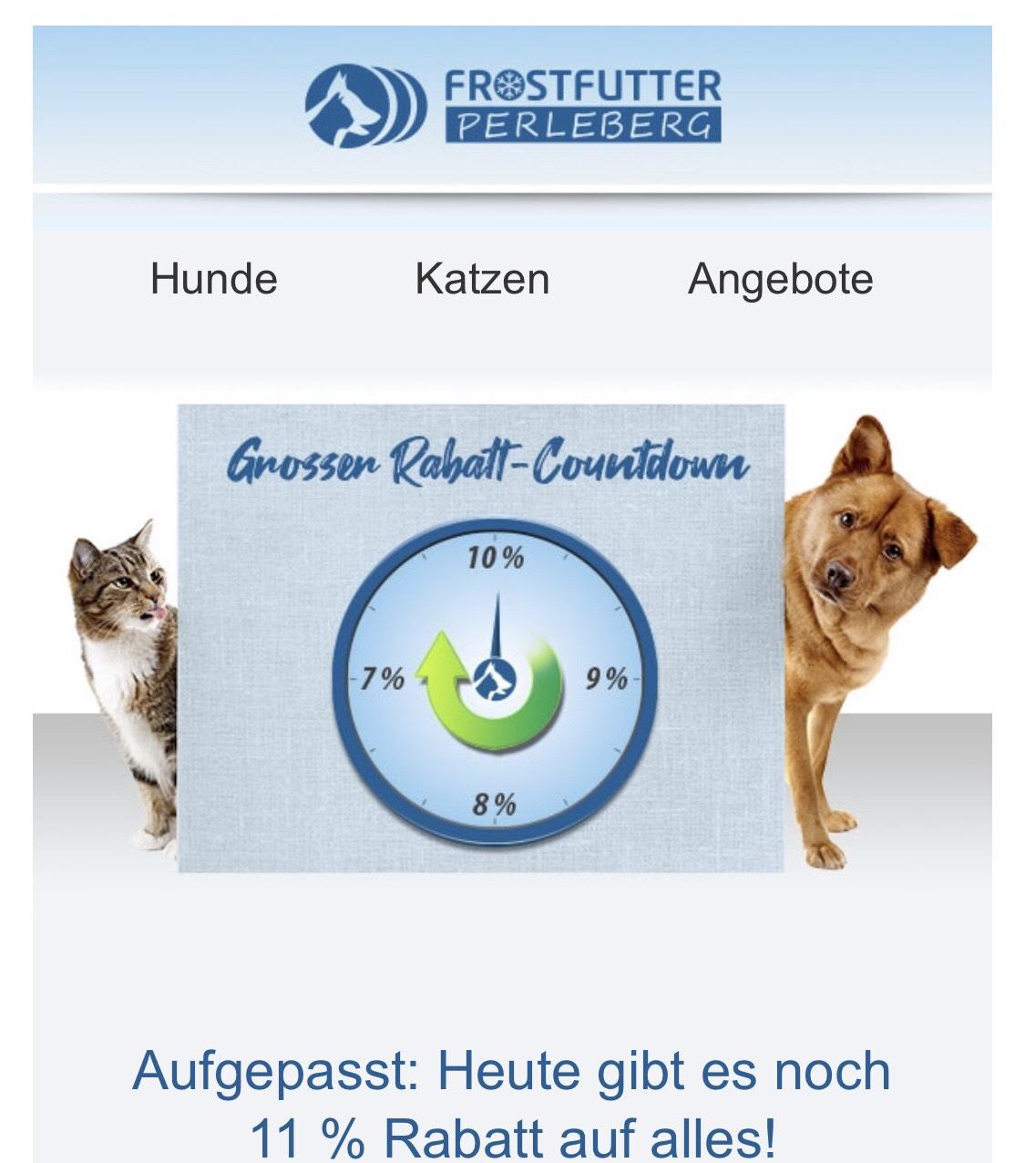 BARF Tierfutter - 10% nur noch heute, jeden Tag 1% weniger Rabatt!