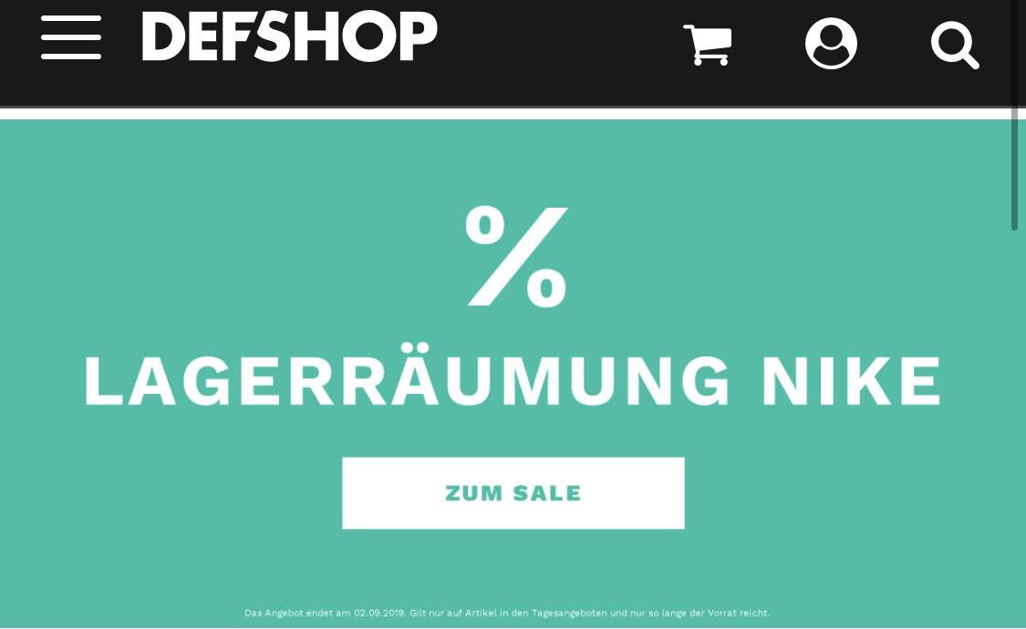 Nike Räumungsverkaufsale bei DefShop für Männer & Frauen