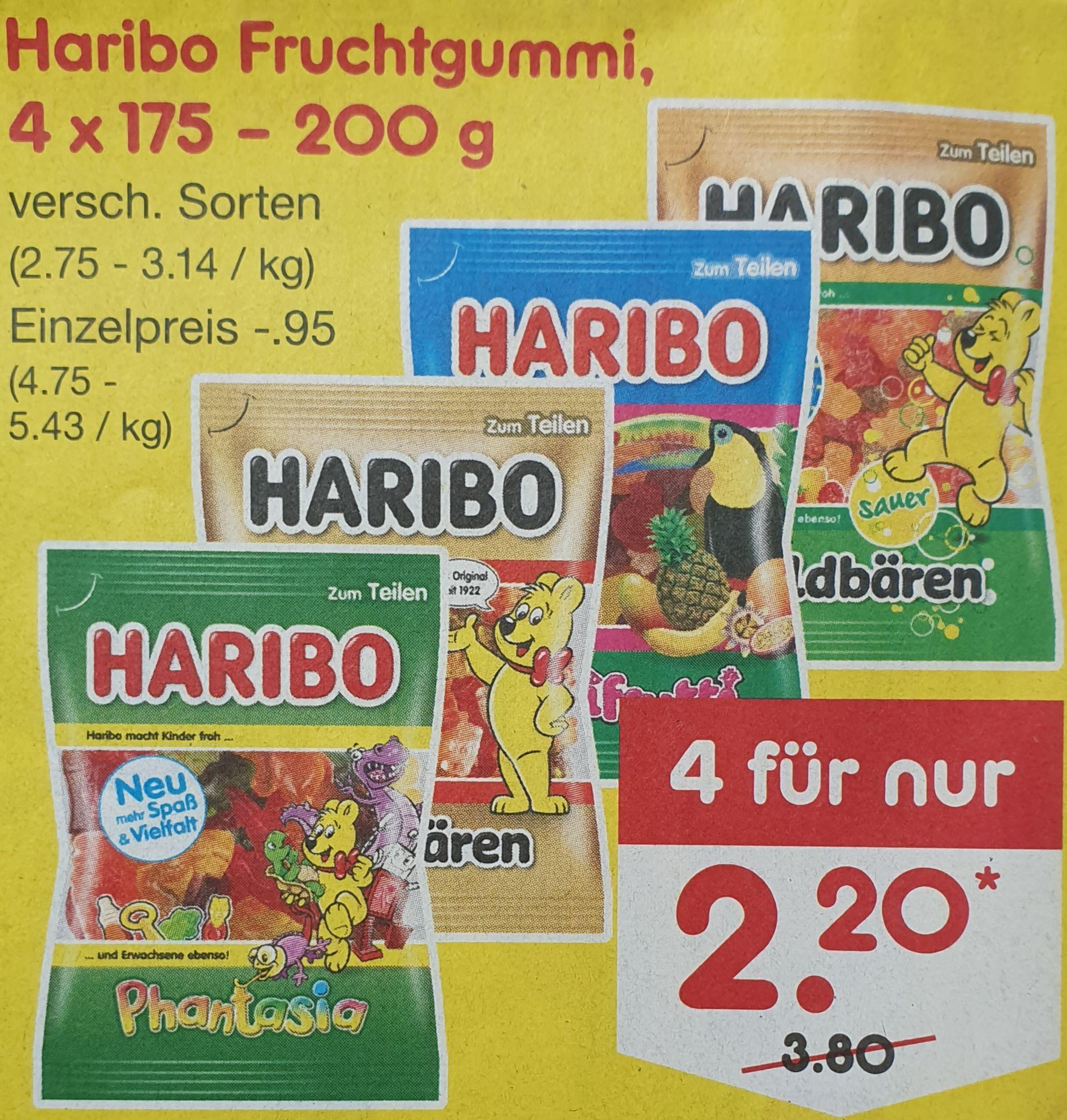 (Netto) 4x Haribo Fruchtgummi 2,20€ (0,55€/Tüte)