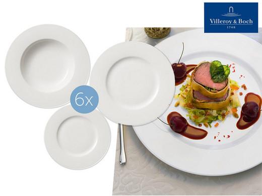 """Villeroy & Boch 6-teiliges Porzellan-Teller-Set """"Twist White"""" (Wahlweise 6 Essteller, 6 Tiefe Teller oder 6 Salatteller bestellbar) [iBOOD]"""