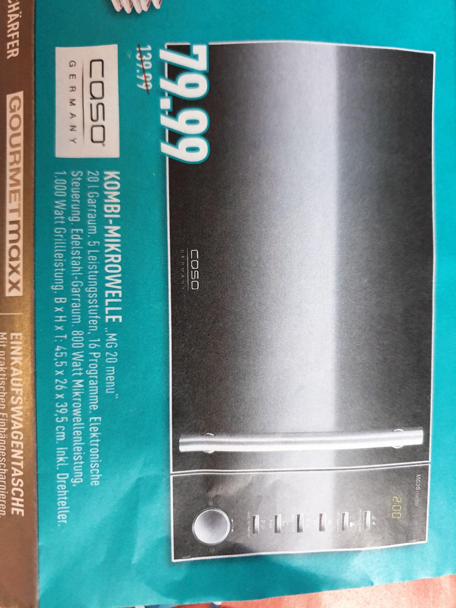 Caso Design Kombi-Mikrowelle MG 20 Menü Edelstahl für 79,99€ ( Marktkauf Rhein-Ruhr evtl. weitere Regionen)