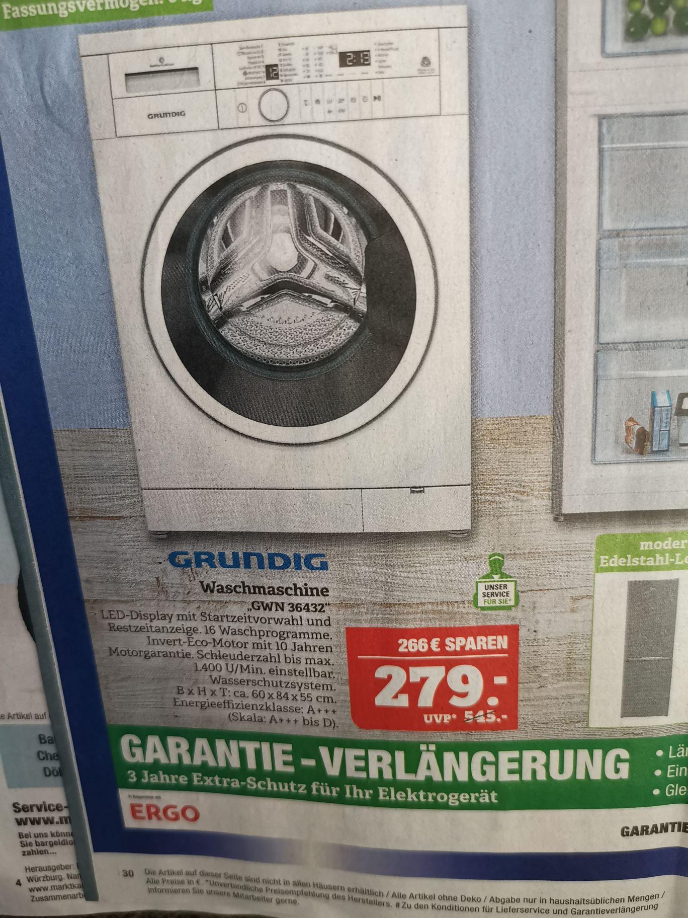 [lokal Marktkauf Saalfeld, Hof, evtl weitere] Waschmaschine Grundig GWN 36432