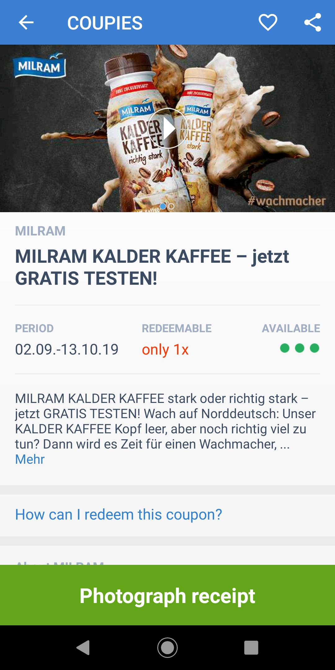 2 x 1 Milram Kalder Kaffee gratis dank Coupies und Edeka-App