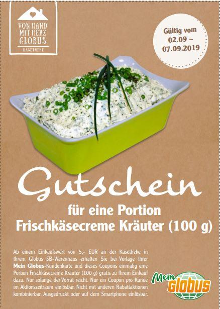 [Globus] Gutschein für eine Portion Frischkäsecreme Kräuter (100 g) ab 5 € Einkaufswert
