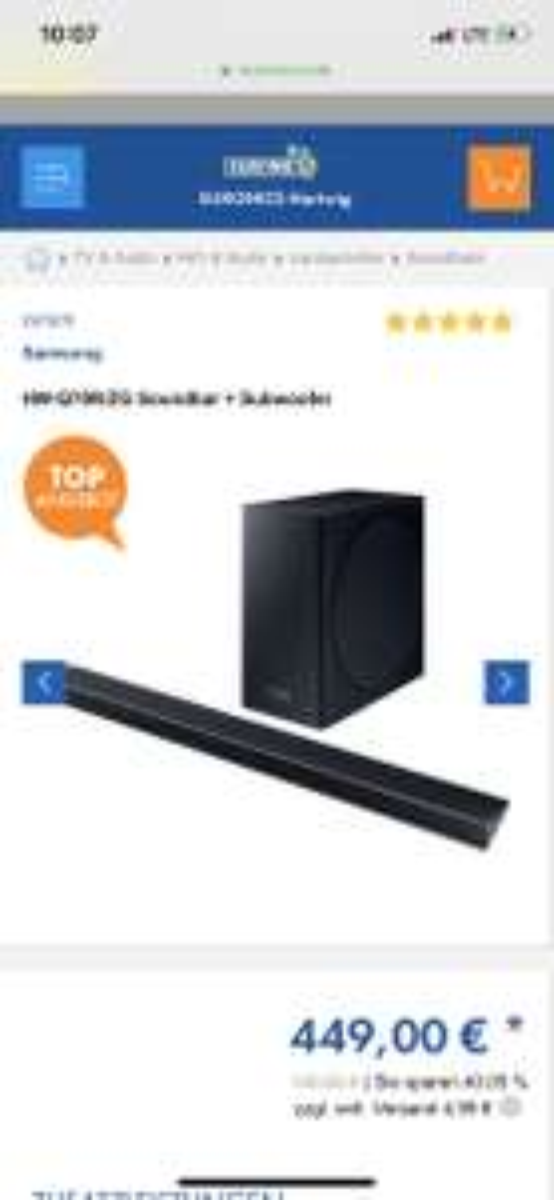 Samsung HW-Q70R/ZG Soundbar + Subwoofer