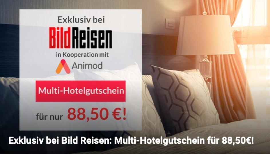 Hotelgutschein für nur 88,50€ - 3 Tage Kurzurlaub 2 Personen mit Frühstück über 100 Hotels