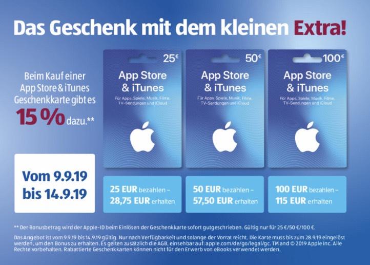 15% Bonusguthaben Geschenkkarte AppStore & iTunes   ALDI SÜD