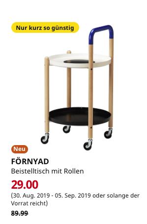 (IKEA Berlin-Spandau / Dresden) FÖRNYAD Beistelltisch mit Rollen, Buche, schwarz