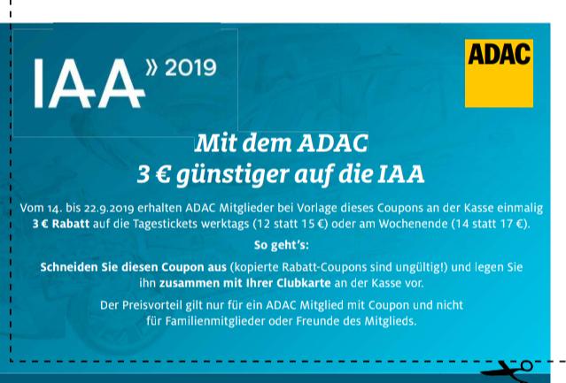 3€ Rabatt für ADAC Mitglieder auf der IAA