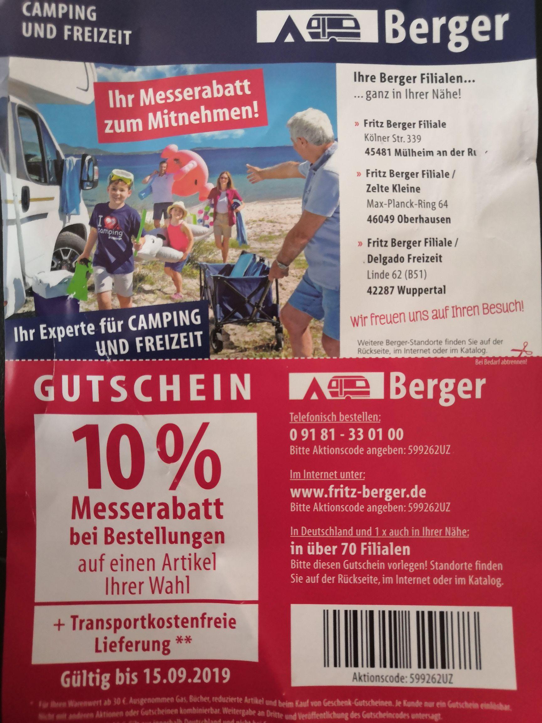 Fritz Berger 10% Messerabatt