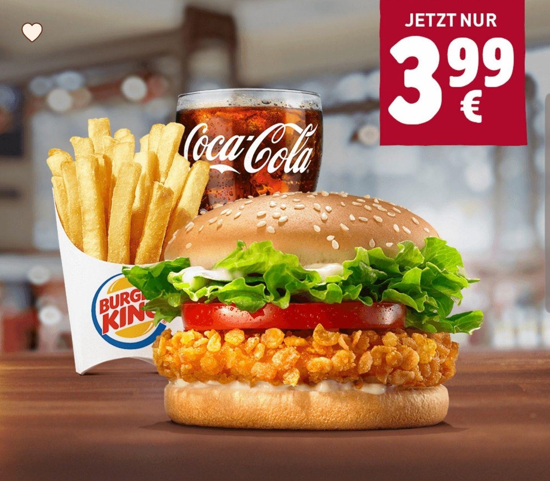 Crispy Chicken Menü mittel für 3,99€, 2x Jr. Meals für 6,49€, 20er King Nuggets 4,99€, Honey BBQ King für 1,99€ etc [Burger King Sammeldeal]