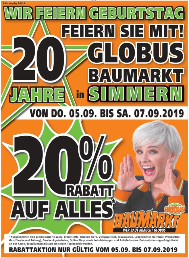 [ Lokal Globus Baumarkt ] Simmern 20% auf alles - 5.9. - 7.9.19