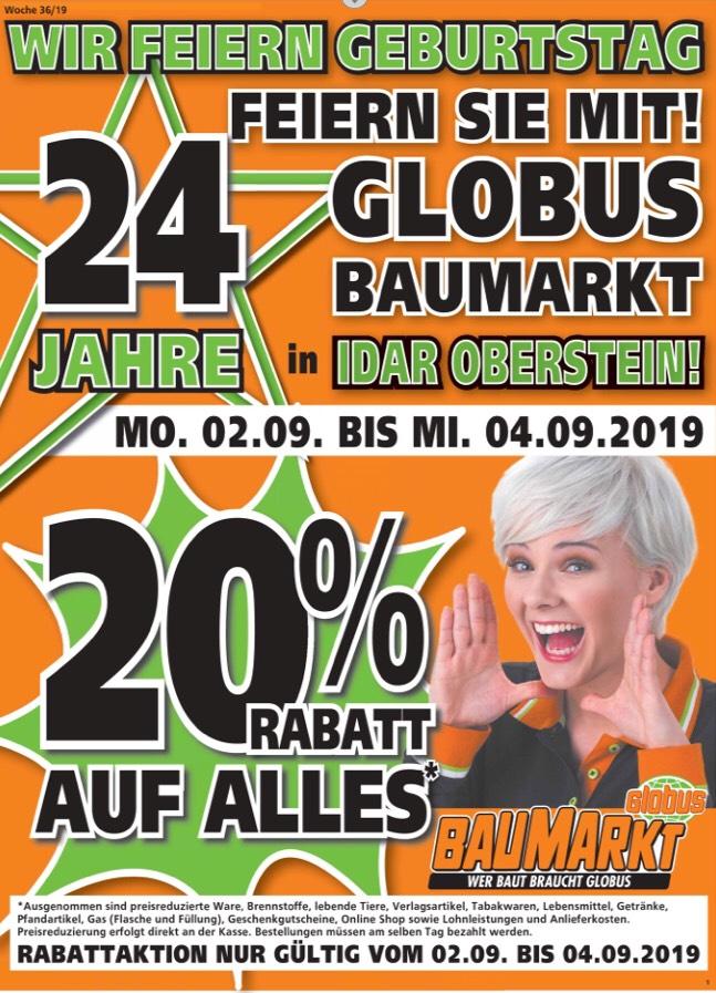 [ Globus Baumarkt Lokal ] Idar-Oberstein 20% auf alles - 2.9. - 4.9.19