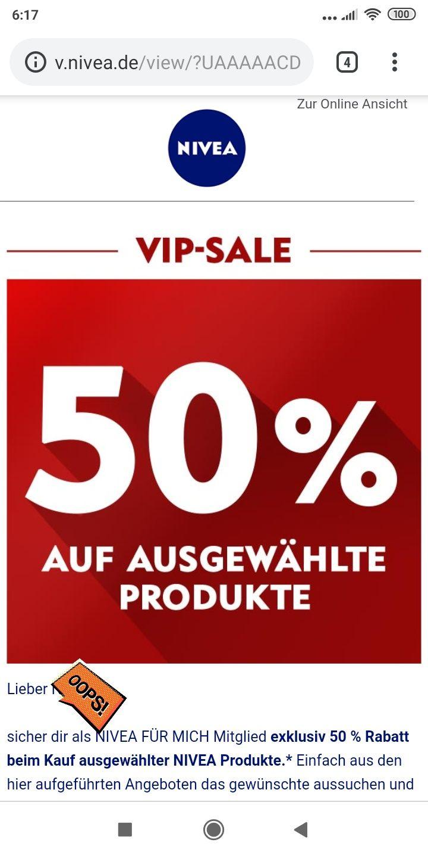 Nivea VIP Sale auf ausgewählte Produkte mit 50% Rabatt