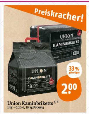 Union Kaminbriketts 10 kg für 2 € bei tegut