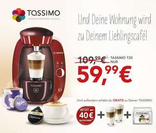 [Online] Tassimo T20 inkl. T-Discs Latte Macchiato und 2 Latte Macchiato-Gläsern und 40,-- Euro-Tassimo-Gutschein für 59,99 € inkl. Versand