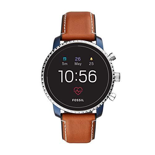 Fossil Q Explorist HR Gen 4 Herren Smartwatch mit Leder Armband FTW4016