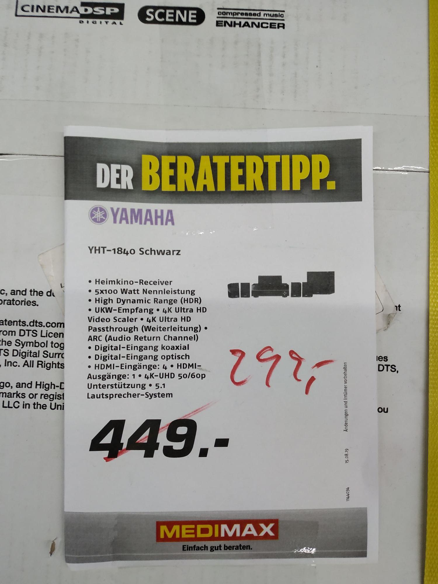 Lokal MediMax Kiel Yamaha YHT-1840 schwarz 5.1 Heimkino System