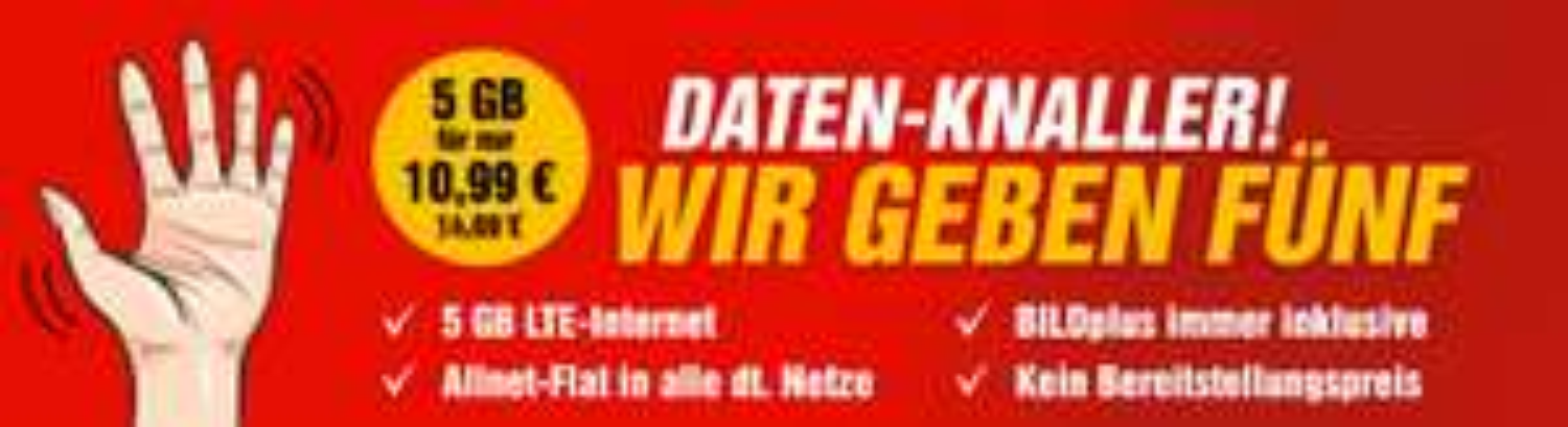Bildconnect 5 GB LTE (O2 Netz, 50MBit/s) + Allnet-Flat + Bildplus für 10,99/Monat