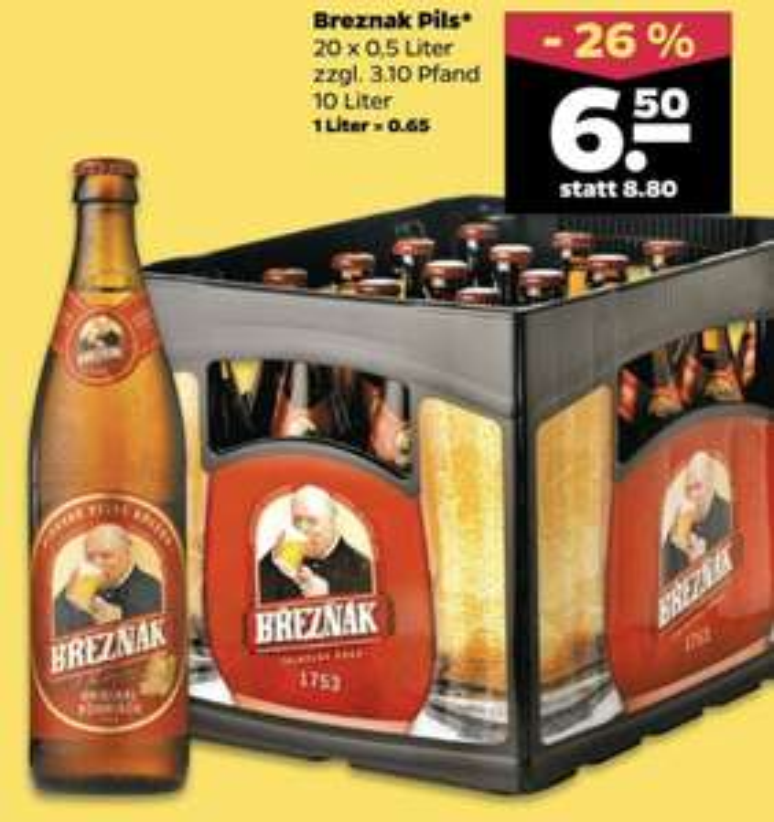 Breznak Original Böhmisch Pils 20 x 0,5l Kasten für 6,50€ - nur am 13. und 14.09. [Netto Scottie]