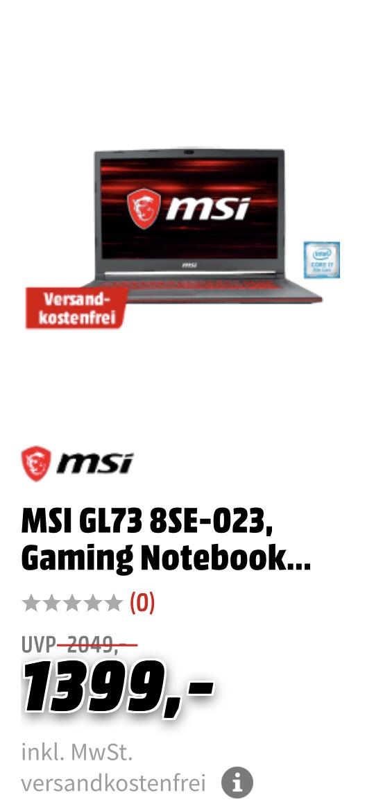 MSI GL73 8SE-023, Gaming Notebook, Gönn-Dir-Dienstag MM