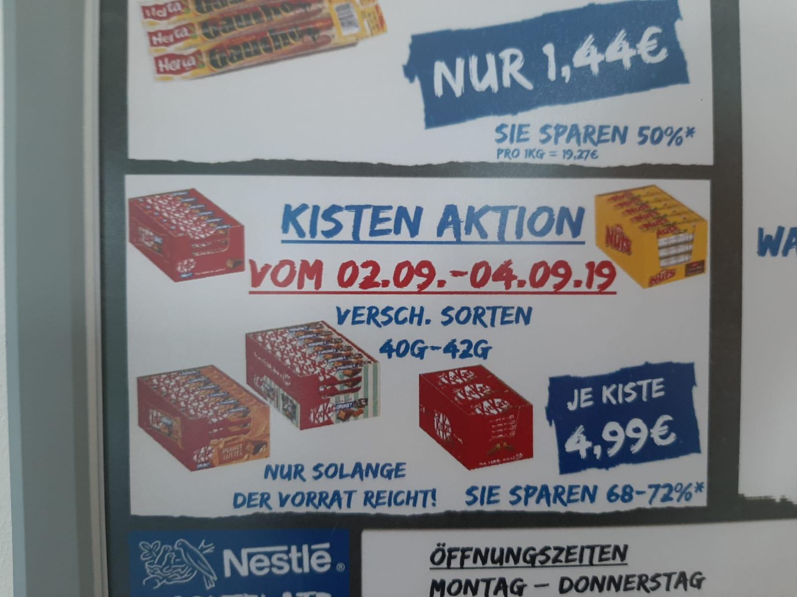 [Lokal Frankfurt am Main Nestle] Kisten Aktion: Verschiedene Sorten KitKat