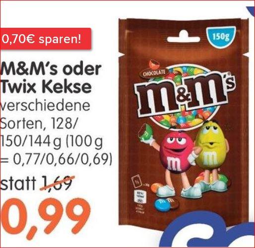 m&m's, verschiedene Sorten für 99 Cent / Cafe Royal für 5,99 Euro / BBQ Sauce Bull`s-Eye für 99 Cent [Jawoll]