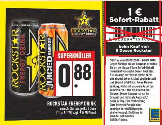 [ EDEKA evtl. nicht bundesweit ] 6x Rockstar für 4,28€ exkl. Pfand (entspr. 71 Cent pro Dose)