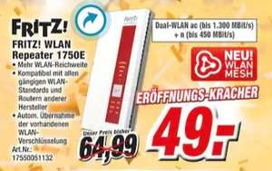 [Regional K+B Expert] AVM FRITZ!Repeater 1750E (Mesh/WLAN AC/Dual-WLAN/1300 MBit/450 MBit/5 GHz/2,4 GHz/Gigabit-LAN für 49,-€