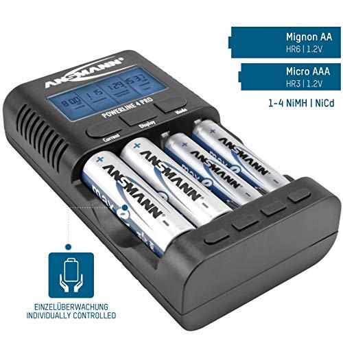 ANSMANN Powerline 4 Pro Ladegerät für AA/Mignon/AAA/Micro Akkus [Amazon Blitzangebot]