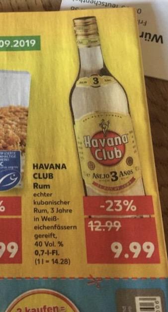 [Kaufland] Havana Club Rum 3 Jahre für 9,99€ vom 09.09.-11.09.'19