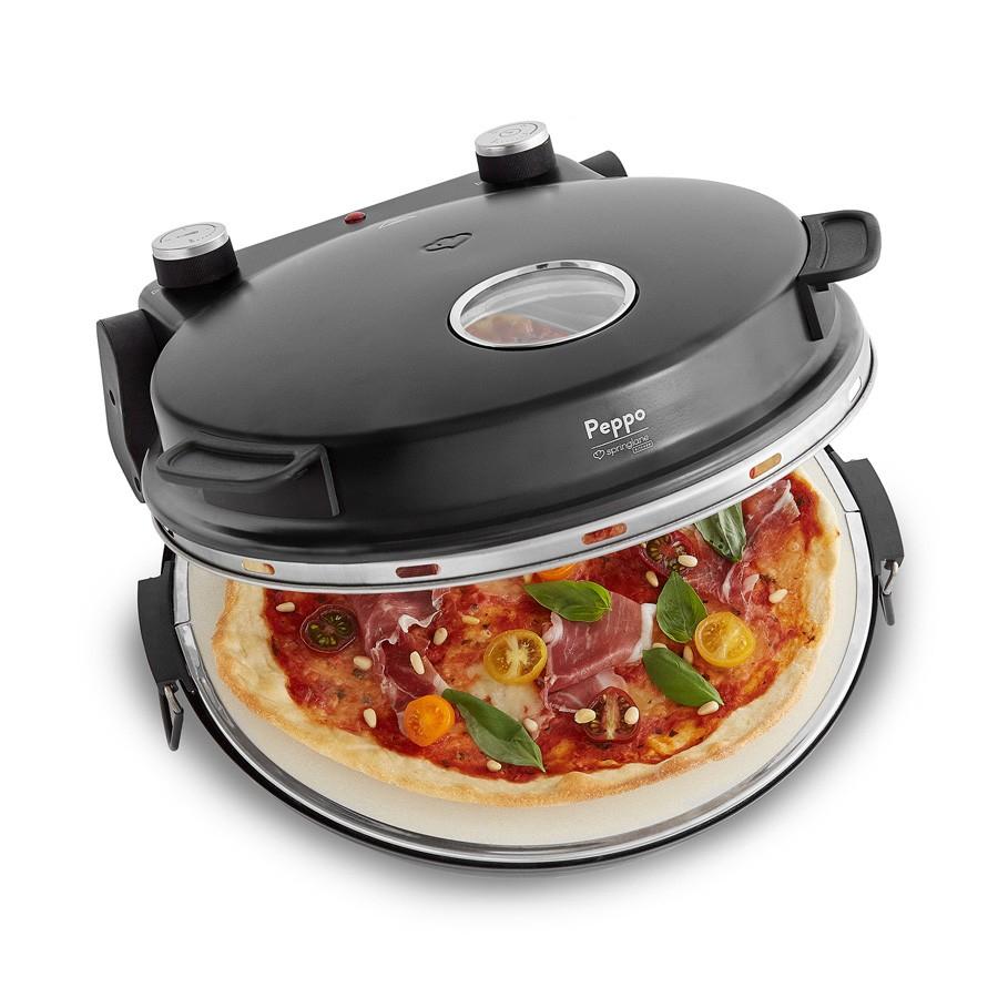 Peppo Pizzaofen [Nur in Schwarz] 1200W Pizzaofen, Pizzastein, Pfanne, 2 Pizzaheber