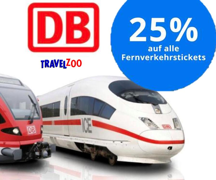 Nur bis Sonntag: 25% Rabatt auf Reisen mit der Deutschen Bahn vom 09.09. bis 24.11.2019 [Travelzoo]