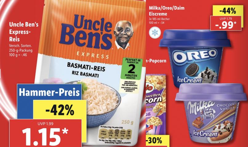 Uncle Ben's Express 250g versch. Sorten für 1,15€ (ab 4x Mitkochhocker gratis) oder Oreo, Milka, Daim Eisbecher 185g für 0,99€ [Lidl ab 9.9]