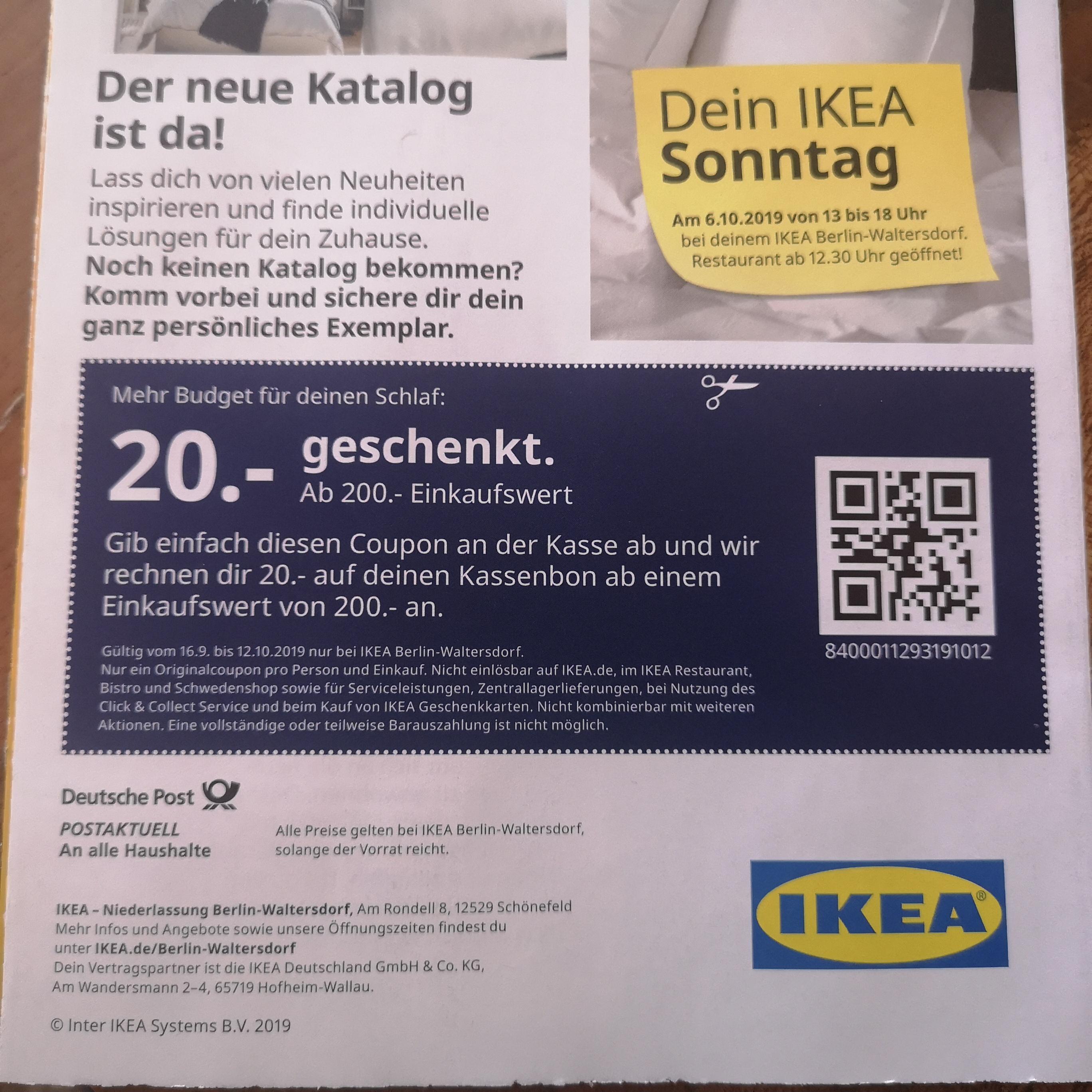 IKEA Berlin - 20€ Rabatt ab 200€ Einkauf