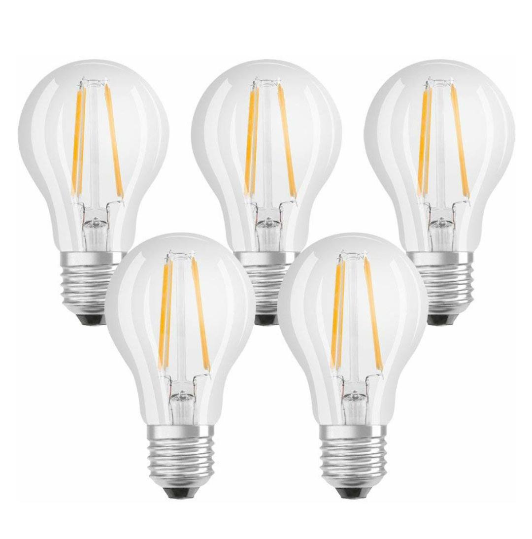 Osram LED Classic Lampe, E27, Warm White, 2700 K, 7 W, Ersatz für 60-W-Glühbirne, klar, 5er Packung [Prime]