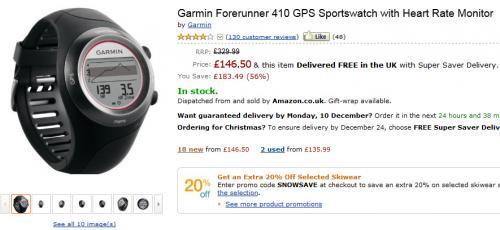 Garmin Forerunner 410 HRM GPS-Uhr mit Pulsmesser
