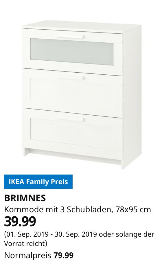 [Lokal] (IKEA FAMILY WÜRZBURG / Hamburg-Schnelsen) BRIMNES Kommode mit 3 Schubladen, weiß, Frostglas, 78x95 cm