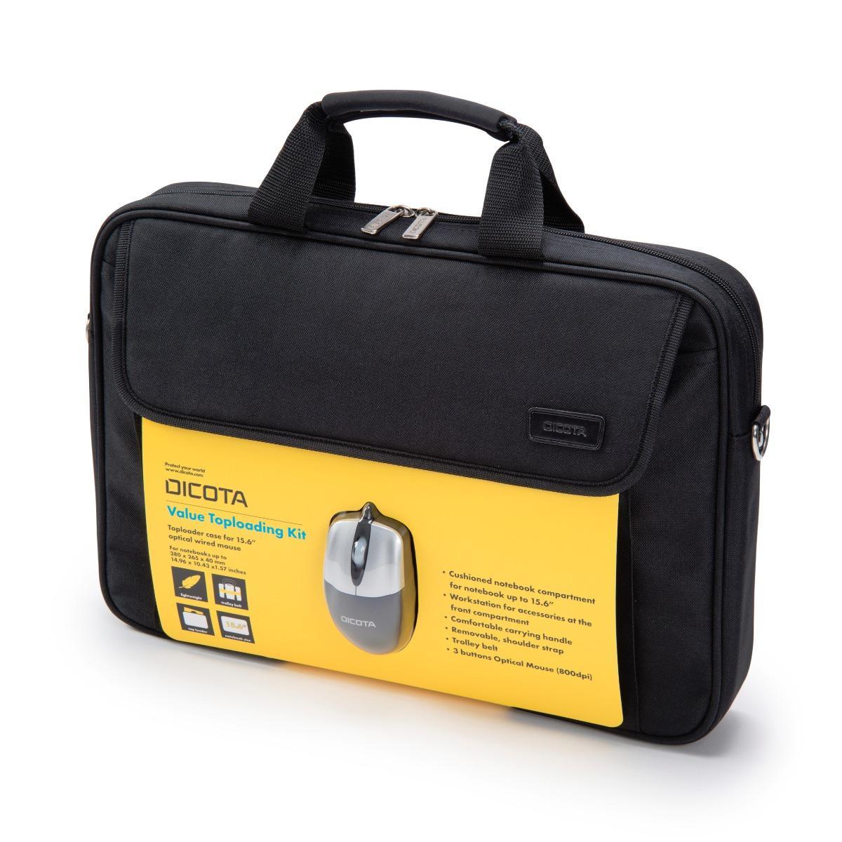"""Dicota Value Toploading Kit (Notebook-Tasche bis 15.6"""" inkl. kabelgebundener, optischer Maus)"""
