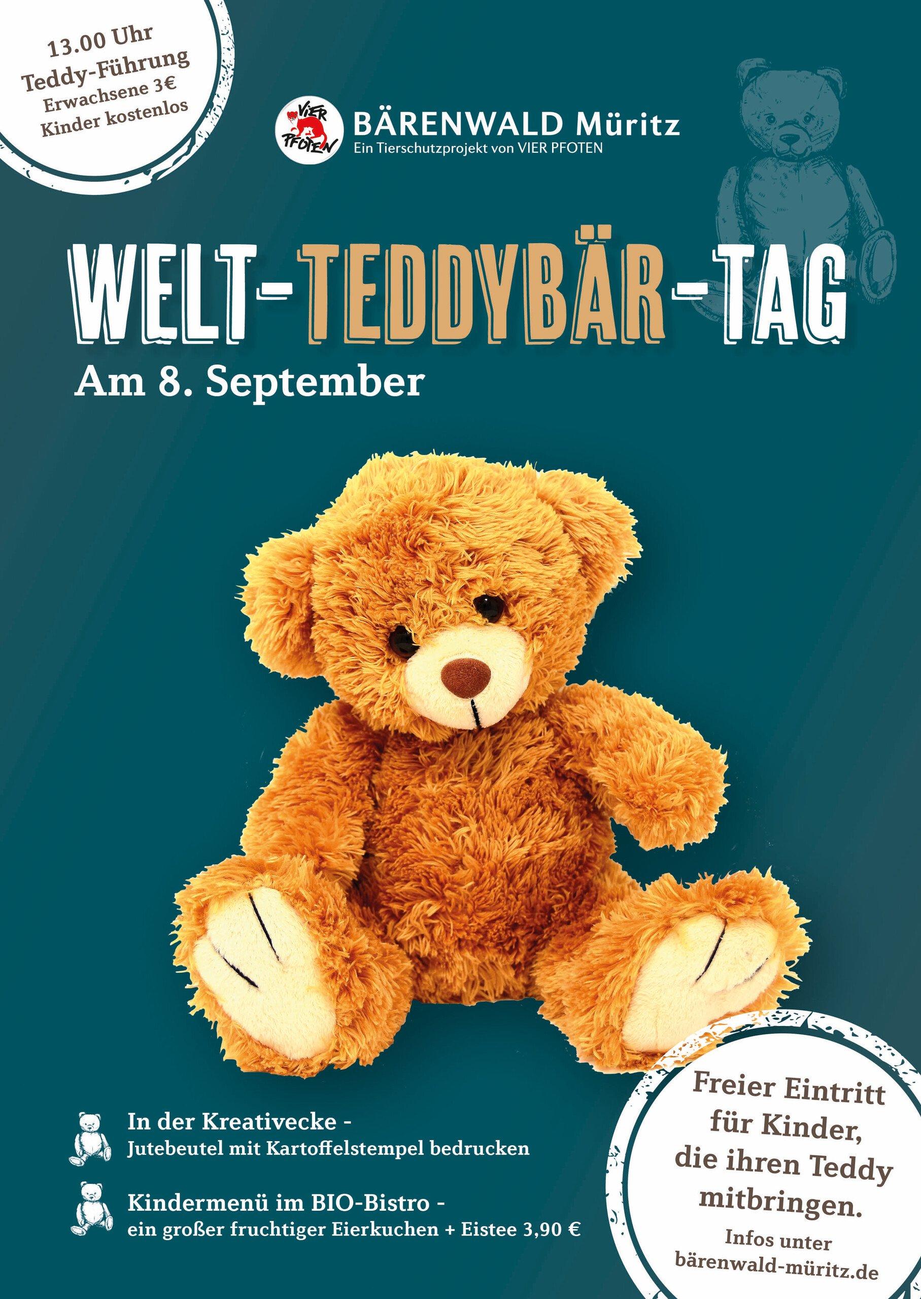 Welt-Teddy-Tag im Bärenwald Müritz am 08.09.19 mit freiem Eintritt für Kinder, die ihren Teddy mitbringen