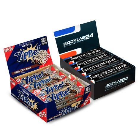 Proteinriegel-Paket: 12x 65g Bodylab24 Protein Bar + 12x 45g Weider Yippie! Bar (MHD 30.11.2019) für 21,94€ versandkostenfrei