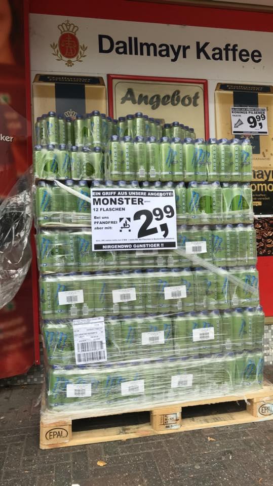 [eff. Gratis] MONSTER Energy Drink (12 Flaschen-Pack) durch Pfand-Rückgabe kostenlos (lokal, Grenze NL)
