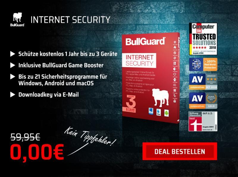 BullGuard Internet Security 2019 kostenlos für 1 Jahr - Bis zu 3 Geräte