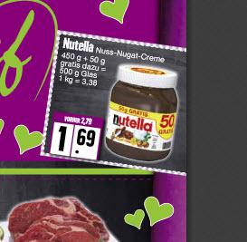 Nutella- Nuss-Nougat- Creme 500g Glas für 1,69  Lokal- 23867 Sülfeld EDEKA Wittorf