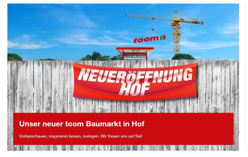 Lokal Hof --> Toom Neueröffnung PKW Anhänger Stema incl. Plane