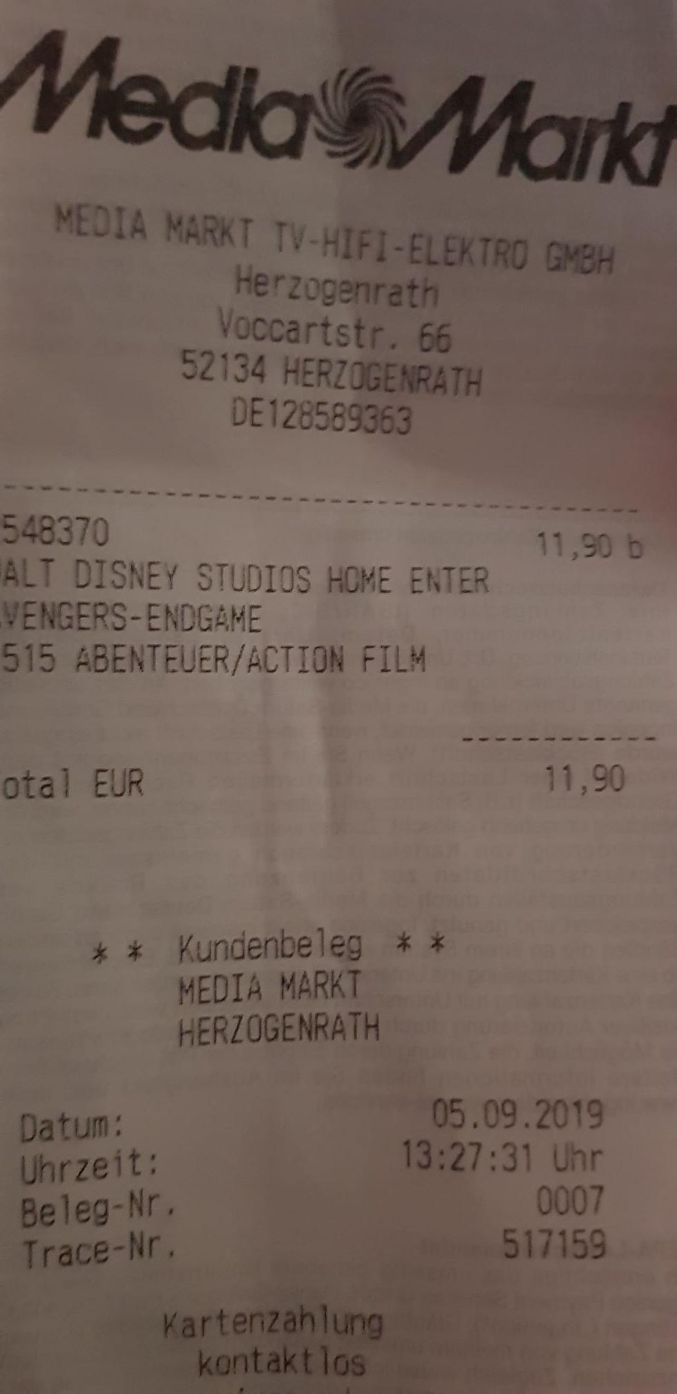 (Lokal) Avengers Endgame BluRay- Media Markt Herzogenrath