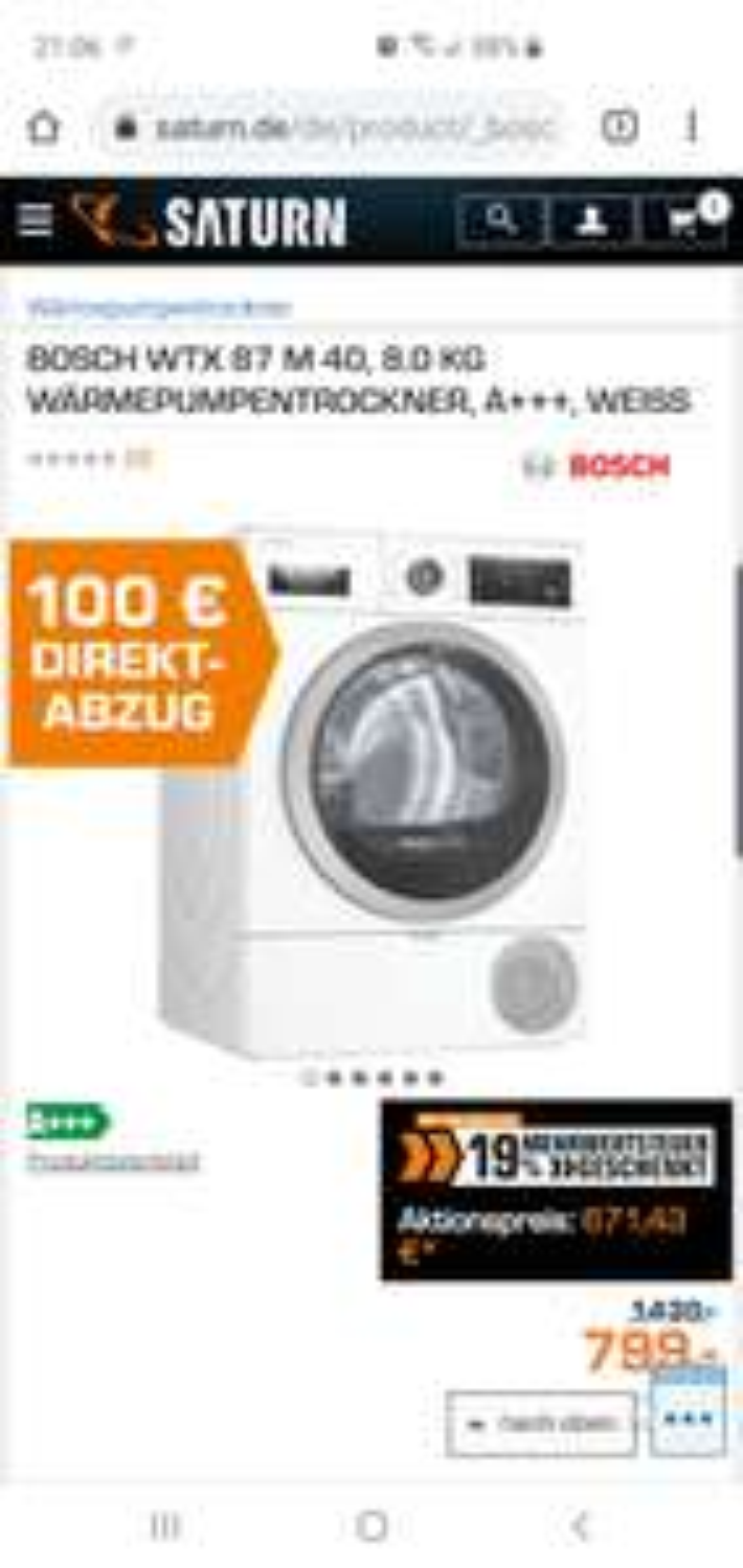Bosch WTX87M40 Wärmepumpentrockner A+++