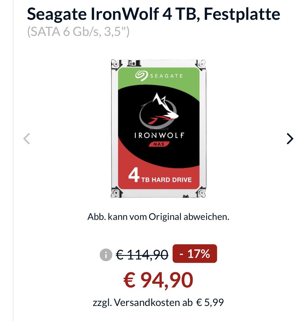 Seagate Iron Wolf 4Tb Festplatte